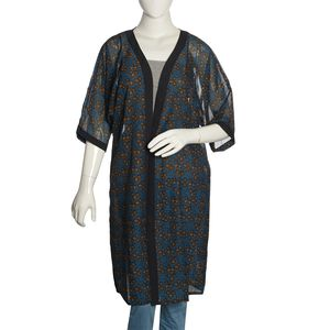 Teal 100% Polyester Chiffon Duster Kimono with Brown and Black Leaf Pattern (One Size)