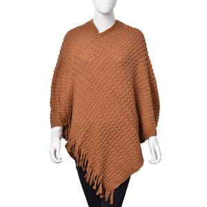 Camel 100% Acrylic Wave Knitting Pattern V Neckline Poncho (35.43x31.49 in)