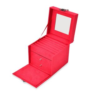 Watermelon Red Velvet Cube Shape Jewelry Box with Mirror, Swing Bag Clasp and Handle (4.9x4.9x4.9 in)