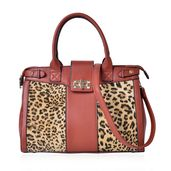 Brown with Leopard Pattern Faux Leather Satchel Bag (13.5x5.4x10 in)