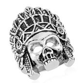 Halloween Black Oxidized Stainless Steel Skull with Native Head Wear Ring (Size 12.0)