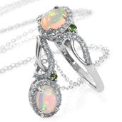 Ethiopian Welo Opal, Russian Diopside, Cambodian Zircon Platinum Over Sterling Silver Ring (Size 8) and Pendant With Chain (20 in) TGW 1.87 cts.