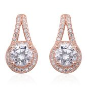 Simulated Diamond 14K RG Over Sterling Silver Drop Earrings TGW 3.50 cts.