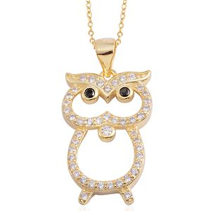 Simulated Black and White Diamond 14K YG Over Sterling Silver Owl Pendant With Chain (18 in) TGW 0.47 cts.