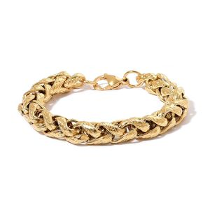 ION Plated YG Stainless Steel Wheat Bracelet (9.00 In)