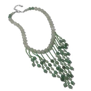 Green Aventurine, Green Glass Silvertone Fringe Necklace (18-21 in) TGW 542.00 cts.
