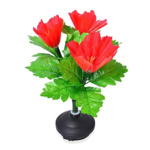 Red Fiber Optic Flower Lamp with Flashing LED Lights (3 AA Batteries not Included) (11.5x3 in)