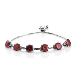Simulated Red Diamond Stainless Steel Magic Ball Bracelet (Adjustable) (7.50 In) TGW 19.00 cts.