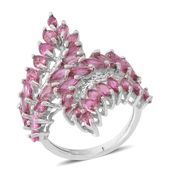 Morro Redondo Pink Tourmaline Sterling Silver Cross Over Cluster Ring (Size 6.0) TGW 4.28 cts.