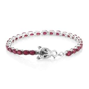 Niassa Ruby, Thai Black Spinel Platinum Over Sterling Silver Tennis Bracelet with Panther Spring Ring Clasp (7.50 In) TGW 16.48 cts.