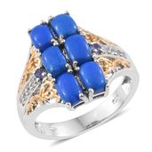 Ceruleite, Tanzanite, Cambodian Zircon 14K YG and Platinum Over Sterling Silver Ring (Size 9.0) TGW 3.25 cts.