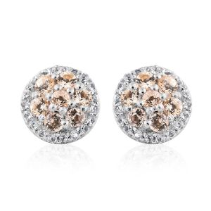 Imperial Topaz, White Topaz Platinum Over Sterling Silver Stud Earrings TGW 0.90 cts.