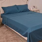 Teal 100% Polyester Sheet Set (King) and Set of 2 Pillow Cases (20x30 in)