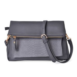 Gray Faux Leather Fold Over Clutch or Crossbody Bag with Removable Shoulder Strap (44in) (10x1x10 in)