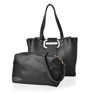 Black Faux Leather Buckle Tote Bag with Standing Studs (12x4.75x11 in) and Matching Crossbody Pouch with Removable Strap (11x3x7 in)