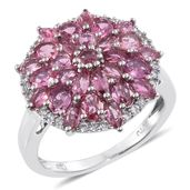 Morro Redondo Pink Tourmaline, Cambodian Zircon Platinum Over Sterling Silver Cluster Ring (Size 6.0) TGW 3.01 cts.