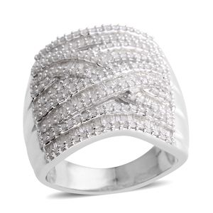 Diamond Platinum Over Sterling Silver Elongated Ring (Size 7.0) TDiaWt 2.00 cts, TGW 2.00 cts.