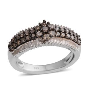 Natural Champagne and White Diamond Platinum Over Sterling Silver Ring (Size 7.0) TDiaWt 0.75 cts, TGW 0.75 cts.