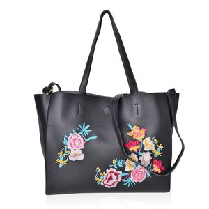 Black and Multi Color Flower Pattern Faux Leather Tote Bag (18.2x13.2x10.2 in)