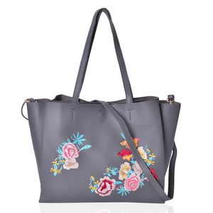 Dark Grey and Multi Color Flower Pattern Faux Leather Tote Bag (18.2x13.2x10.2 in)