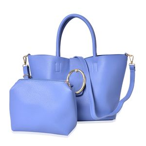 Blue Faux Leahter Tote (15.4x11x9.2 in) and Pouch Bag (6x7.4x6.6 in)