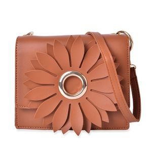 Camel 3D Flower Faux Leather Clutch Bag with Removable Crossbody Strap (7.5x2.5x6.5 in)