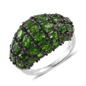 Russian Diopside, Cambodian Zircon Black Rhodium & Platinum Over Sterling Silver Dome Ring (Size 7.0) TGW 9.24 cts.