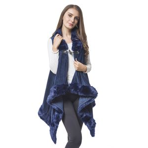 Navy 100% Polyester Vest with Faux Fur Collor & Bottom (One Size)