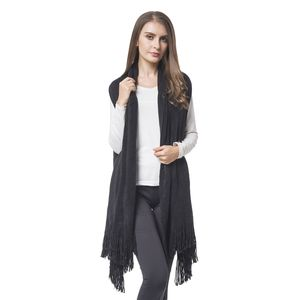 Black 100% Acrylic Knitted Drape Vest with Fringes