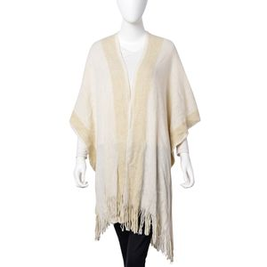 White with Golden Rope 80% Acrylic & 20% Polyester Kimono with Sleeves (31.5x37.41 in)