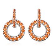 Salamanca Fire Opal Platinum Over Sterling Silver Earrings TGW 2.96 cts.
