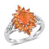 Salamanca Fire Opal Platinum Over Sterling Silver Sunflower Ring (Size 6.0) TGW 1.70 cts.
