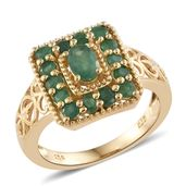 Kagem Zambian Emerald 14K YG Over Sterling Silver Ring (Size 6.0) TGW 1.50 cts.
