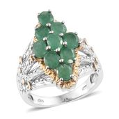 Kagem Zambian Emerald 14K YG and Platinum Over Sterling Silver Ring (Size 6.0) TGW 2.78 cts.