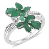 Kagem Zambian Emerald, Cambodian Zircon Platinum Over Sterling Silver Bypass Ring (Size 5.0) TGW 2.05 cts.