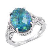 Black Ridge Quartz, Cambodian Zircon Platinum Over Sterling Silver Halo Ring (Size 6.0) TGW 8.85 cts.
