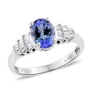Web Exclusive Doorbuster ILIANA 18K WG Premium AAA Peacock Tanzanite, Diamond Ring (Size 7.0) TDiaWt 0.16 cts, TGW 1.66 cts.