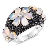 Ethiopian Welo Opal, Thai Black Spinel Platinum Over Sterling Silver Floral Ring (Size 7.0) TGW 6.34 cts.