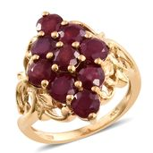 Niassa Ruby 14K YG Over Sterling Silver Ring (Size 10.0) TGW 6.75 cts.