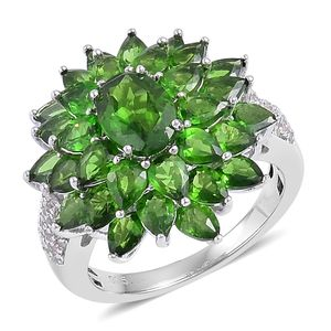 Russian Diopside, White Zircon Sterling Silver Ring (Size 8.0) TGW 7.00 cts.