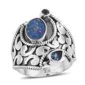 Artisan Crafted Australian Boulder Opal, London Blue Topaz, Catalina Iolite Sterling Silver Ring (Size 6.0) TGW 1.81 cts.