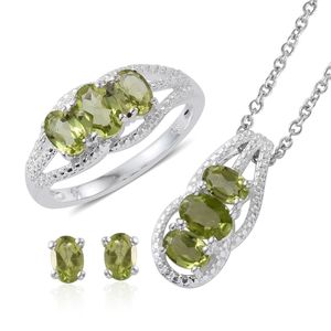 Hebei Peridot Sterling Silver Earrings, Ring (Size 5) and Pendant With Stainless Steel Chain (20 in) TGW 4.45 cts.