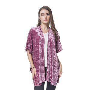 Mauve Stripe Pattern Velvet 100% Polyester Kimono (One Size)