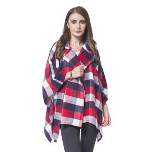 Red, Navy and White 65% Polyester and 35% Viscose Plaid Pattern Cape with Collar (One Size)