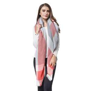 Coral and Gray 100% Acrylic Stripes Pattern Woven Shawl (56x56 in)