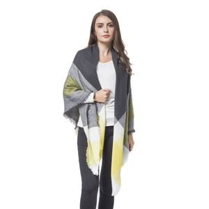 Black and Yellow 100% Acrylic Stripes Pattern Woven Shawl (56x56 in)