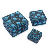 Blue Beaded Set of 3 Nested Bling Box