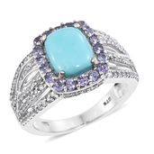 Kevin's Presidential Deal Kingman Turquoise, Tanzanite, Cambodian Zircon Platinum Over Sterling Silver Ring (Size 8.0) TGW 4.25 cts.