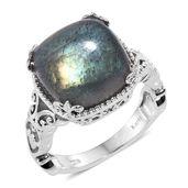 KARIS Collection - Malagasy Labradorite Platinum Bond Brass Ring (Size 8.0) TGW 14.15 cts.