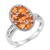 Salamanca Fire Opal, Cambodian Zircon Platinum Over Sterling Silver Cluster Ring (Size 8.0) TGW 1.40 cts.